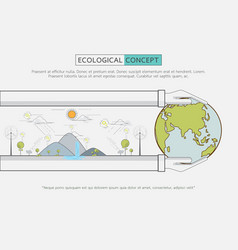 Flat line green eco life conservation vector