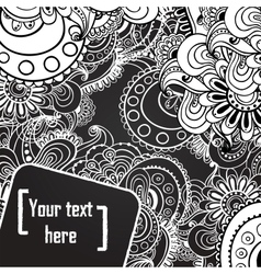 Floral black and white background vector