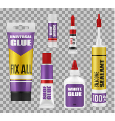 Glue sticks tubes and bottles adhesive packages vector