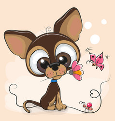 Greeting card puppy with flower vector