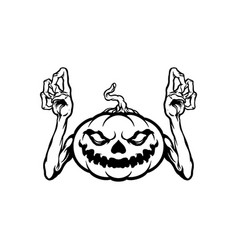 halloween character jack o lantern silhouette vector image