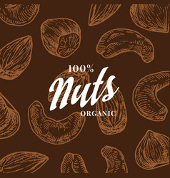 Hand drawn nuts pattern card abstract vector