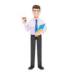Handsome business man having a coffee break vector