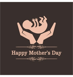 Happy mothers day greeting with caring concept vector
