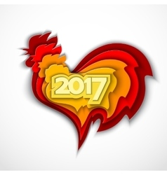 happy new year 2017 red rooster vector image