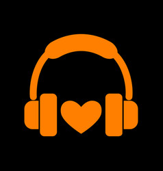 headphones with heart orange icon on black vector image