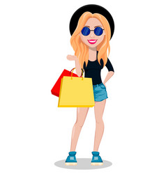 hipster woman beautiful young girl vector image