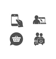 Hold smartphone shopping cart and online vector