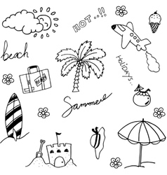 Holiday beach set of doodle vector