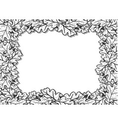 horizontal decorative frame with oak leaves and vector image