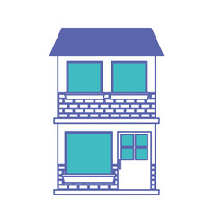 house facade of two floor in blue and purple color vector image