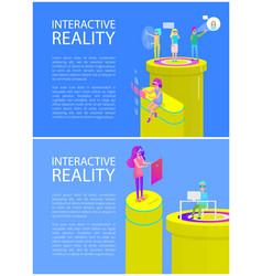 interactive reality woman set vector image