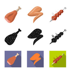 Isolated object meat and ham logo set meat vector