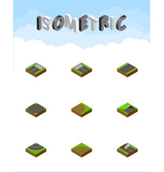 Isometric road set of unilateral crossroad vector