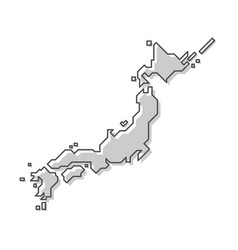 Japan map modern simple line style vector
