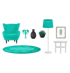 Living room furnishing elements with soft armchair vector
