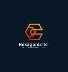 Logo hexagon letter c gradient colorful vector