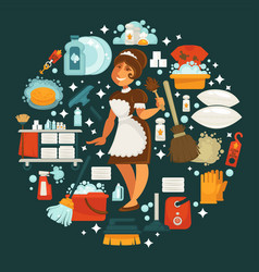 Maid in uniform surrounded with equipment for vector