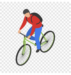 Man bike delivery icon isometric style vector
