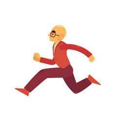 man in sportswear and eyeglasses running isolated vector image