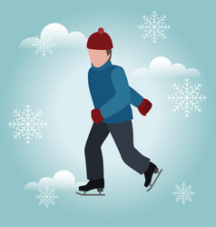 Man skating cross country skating winter sport vector