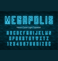 Megapolis neon light alphabet realistic extra vector