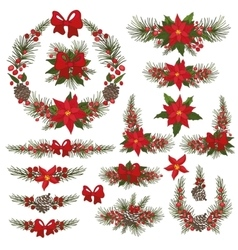 Merry Christmas and New Year Wreathgroup vector