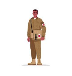 Military surgeon semi flat rgb color vector