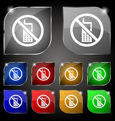 Mobile phone is prohibited icon sign Set of ten vector