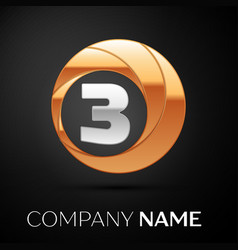 number three logo symbol in golden-silver circle vector image