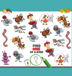 one a kind game for children with funny insects vector image