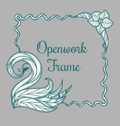 openwork frame with swan vector image