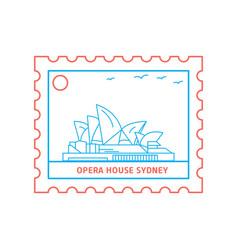 opera house postage stamp blue and red line style vector image