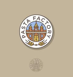 pasta factory logo italian building spikelet vector image