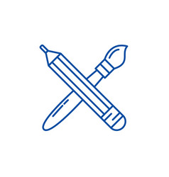 pencil and paint brush line icon concept pencil vector image