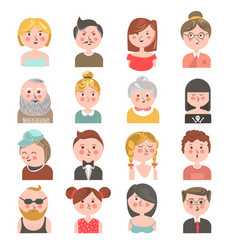 People avatars all ages colorful collection on vector