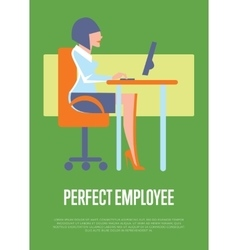 Perfect employee banner with business woman vector