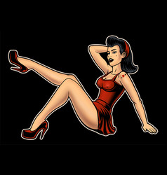 pin up girl vector image