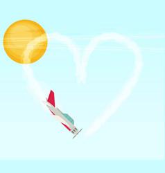 Plane aerobatics heart flat vector