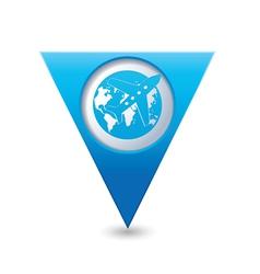 PlaneANDglobe BLUE triangular map pointer vector