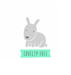 Rabbit sign Cruelty free Vegan vector image