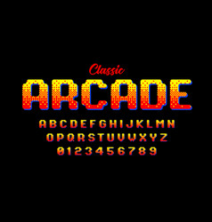 Retro style arcade games font 80s video game vector