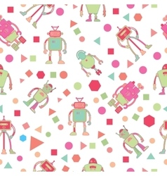 Seamless pattern for kids with robots vector image