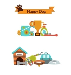 set color icons for dog pet food pet vector image