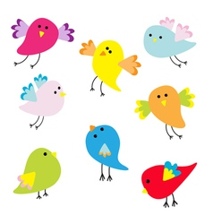 Set of cute cartoon birds vector