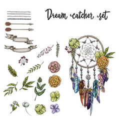 Set of hand drawn ornate dreamcatcher vector