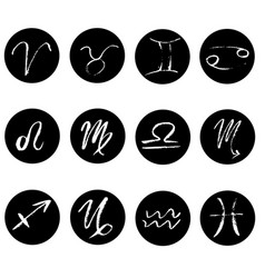 set of signs of zodiac icons hand drawn elements vector image