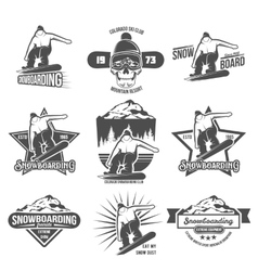 Set of snowboarding badges and logotypes vector image