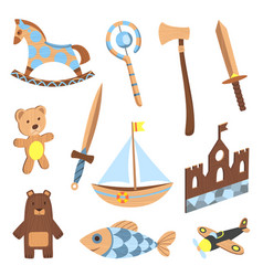 Set of wooden kid toys collection ecological vector