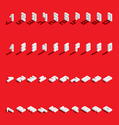 Set with isometric numbers from 1 to 9 and vector